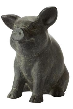 Piglet Ceramic Garden Decor - Pig Statue - Garden Statues - Lawn Ornaments - Outdoor Statues - Garden Statuary | HomeDecorators.com