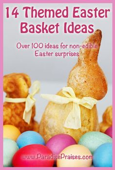 14 Themed Easter basket ideas and over 100 non-edible surprises to put in them! Easter doesn't have to be sugar-filled to be sweet! Easter Activities, Easter Crafts For Kids, Resurrection Day, Easter Bunny Decorations, Easter Celebration, Easter Baskets, Gift Baskets, Family Holiday, Craft Stick Crafts