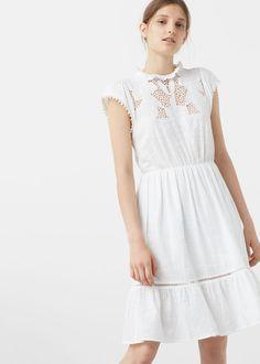 Kleid mit lochmustereinsatz | MANGO