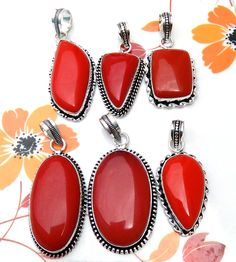 New Fashion 20 Piece Red Coral Smooth Gemstone Sterling Silver Plated Pendants. #Unbranded #Pendant