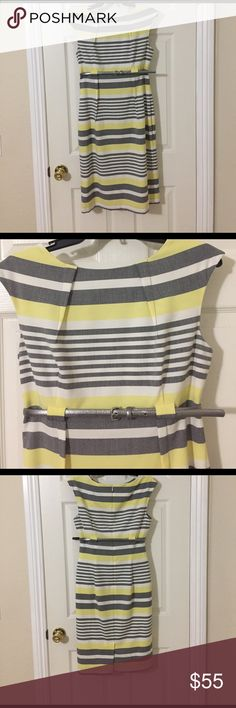 Calvin Klein sheath dress This dress is gorgeous on. It is grey, yellow and white with a thin silver belt. It has a back zip closure. It has a small slit on the back. It is fully lined. The fabric does not have much stretch. I would say sizing is about 4-6. Calvin Klein Dresses