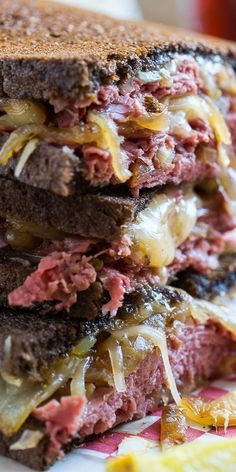 Corned Beef Grilled Cheese with caramelized onions cooked in beer.