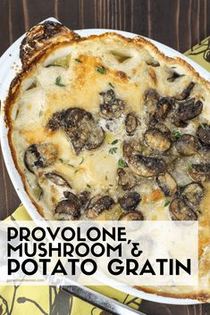 Delicious Meatless Mains To Make For Thanksgiving Upgrade your Thanksgiving sides with this easy Provolone, Mushroom Potato Gratin Recipe.Upgrade your Thanksgiving sides with this easy Provolone, Mushroom Potato Gratin Recipe. Potato Sides, Potato Side Dishes, Vegetable Dishes, Side Dish Recipes, Veggie Recipes, Vegetarian Recipes, Cooking Recipes, Vegetable Gratin Recipes, Potato Recipes