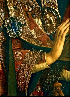"""The Ghent Altarpiece"" or ""The Adoration of the Mystic Lamb"" -- Singing Angels  (single panel detail)  1 of 24 compartmental scenes -- 1430-32 -- Hubert and Jan Van Eyck -- Flemish -- Polyptych -- Oil on wood -- Saint Bavo Cathedral -- Ghent, Belgium"