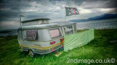 Vintage caravan on Kintyre shore Scotland