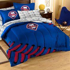 Philadelphia Phillies MLB Embroidered Comforter Set (Twin-Full) (64 x 86)