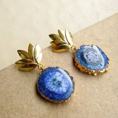 Blue Agate Earrings with Gold Electroplating and a by EnharaJewels