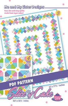 Slice of Cake 3 & 4 PDF pattern by meandmysisterquilts on Etsy