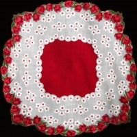 Red Tulips Scalloped Round Vintage Handkerchief
