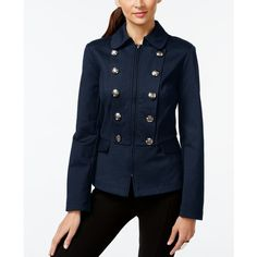 Inc International Concepts Zippered Military Jacket, ($74) ❤ liked on Polyvore featuring outerwear, jackets, deep twilight, blue zipper jacket, military field jacket, army jacket, inc international concepts and military button jacket