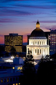 Sacramento State Capitol Building at Night