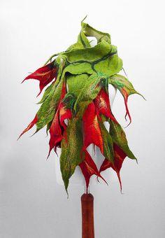 Felted Scarf Nunofelt Scarf Flower Scarf Green Shawl by filcant, $159.00