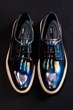Holographic! Miista Allison Leather Hologram Shoes in Oil Slick Black http://thriftedandmodern.com/miista-allison-oxford-hologram-black