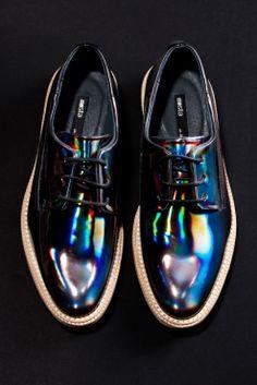 Holographic! Miista Allison Leather Hologram Shoes in Oil Slick Black http://thriftedandmodern.com/miista-allison-oxford-hologram-black