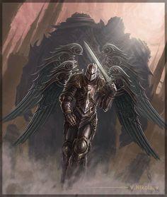 Greatest-Angel-Knight-By-Nikt 58 angel drawings: illustrations and sketches Ange Demon, Demon Art, Fantasy Armor, Dark Fantasy Art, Fantasy Character Design, Character Art, Marah Woolf, Archangel Tattoo, Warrior Tattoos