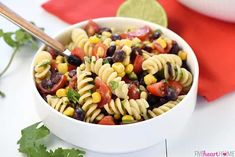 Rotini and Black Bean Salad Pasta Salad Recipes, Veggie Recipes, Vegetarian Recipes, Cooking Recipes, Fun Recipes, Vegan Meals, Corn And Tomato Recipe, Lime Vinaigrette, Summer Side Dishes