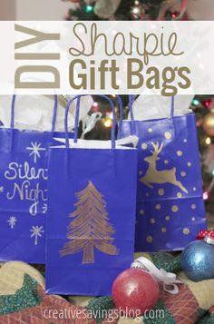 Make your own Holiday gift bags with Sharpie Metallic markers! Free-hand a design, or use a stencil....both will make your Sharpie gift bags sparkle!