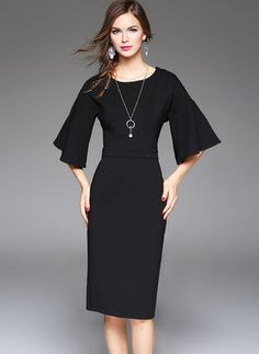 411fc87a98 Cotton Solid Half Sleeve Mid-Calf Elegant Dresses Collar Dress
