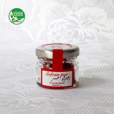 Safran pur issu de l'économie sociale et solidaire, 1 gramme de pistils conditionnés en bocal de verre. Appellation d'origine protégée (AOP) Safran de Taliouine