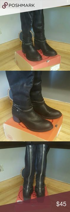 """Black Boots Black SO boots, size 10, very minimal use, I think I wore them twice. I loved these boots so much and they were sold out of my size, so I went ahead and bought a larger size (the only size they had left) and they are just too big for me. They have a slight heel (1.5""""-2"""") and zip up the back. SO Shoes Heeled Boots"""