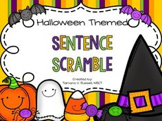Here& a quick freebie for Halloween! :) If you love a good sentence scramble as much as I do.use this with your little learners! 1st Grade Activities, Halloween Activities, Autumn Activities, Halloween Themes, Diy Halloween, Happy Halloween, Apple Chart, Good Sentences, Little Learners