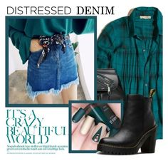 """True Blue:Distresssed Denim"" by samketina ❤ liked on Polyvore featuring Hollister Co., Marc Jacobs, Dr. Martens and distresseddenim"