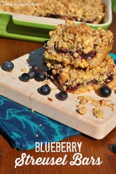 Blueberry Streusel Bars: Rich, buttery, sweet, and loaded with a streusel topping, these easy dessert bars require just a few minutes of prep time because they start with a cake mix!