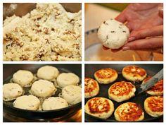 Aceste brânzoaice extraordinare se prepară în jumătate de oră. Aluatul nu necesită frământare sau dospire. Este o compoziție asemănătoare celei pentru Cake Cookies, Mashed Potatoes, Muffin, Sweets, Breakfast, Ethnic Recipes, Food, Home, Cooking