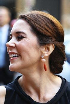 Princess Mary's earring and hair details during the store opening of Ole Lynggaard Copenhagen in Sydney, NSW, Australia