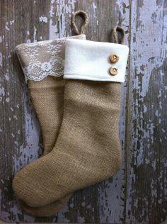 .Burlap christmas stocking