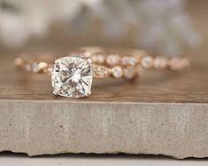 Bridal Ring Set, Moissanite Rose Gold Engagement Ring, Cushion 6.5mm Moissanite Ring, Diamond Milgrain Band, Solitaire Ring, Promise Ring