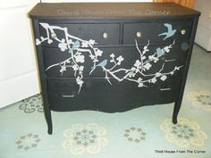 cherry blossom branch ~ painted dresser project with birds! done in light gray and turquoise