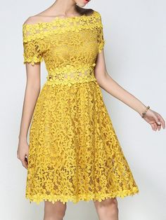 Take a look at this Yellow Lace Sheer-Waist Off-Shoulder Dress today! Yellow Midi Dress, Party Dresses Online, Dress Online, Vestidos Sexy, Robes Midi, Midi Cocktail Dress, Daily Dress, Yellow Lace, Yellow Fashion