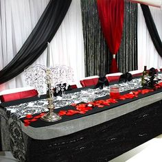 21FT Wholesale Black Glitzy Sequin Table Skirt For Wedding Party Event Decoration