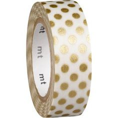 Metallic gold dots adorn delicate ivory paper tape. Washi tape can be torn by hand and is easy to reposition. Semi-transparent for layering, it can be used to add a little color anywhere...on a letter
