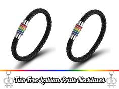 """Measurement:Length: 8"""" long;Width: 8MM wide. Material: Black Leather & SteelHigh quality and timeless piece! - (2 Pieces) Rainbow Leather Bracelets and 2 free"""
