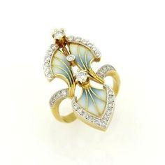 Masriera-18k-Yellow-Gold-Diamond-Plique-a-jour-Enamel-Floral-Design-Ring