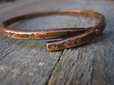Riveted copper bracelet with marine blue patina by CopperTreeArt, $39.00