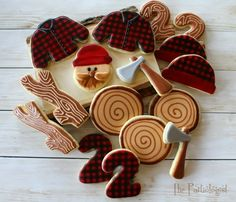 The Partiologist: Lumberjack Cookies! Cut Out Cookies, Cute Cookies, Cupcake Cookies, Sugar Cookies, Cookies Et Biscuits, Cupcakes, Pear And Almond Cake, Almond Cakes, Camping Cookies