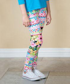 White & Pink Geometric Floral Leggings - Girls #zulily #zulilyfinds