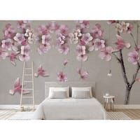Cherry Blossom Nursery, Cherry Blossom Watercolor, Pink Blossom, Peach Blossoms, Pastel Flowers, Vintage Flowers, Pink Wallpaper Bedroom, Pink Accent Walls, Fairy Bedroom