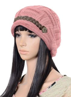 UZZO™ Fashion woman lady girl warm flexible handmade Knitted Crochet Baggy Beret Cap Hat embellishment by one PU Braids for woman outdoor sports  Free UZZO logo Key Ring -- More info could be found at the image url.