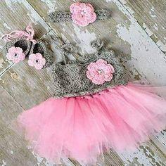 Crochet Baby Tutu Dress Flower Shoes Headband Set Newborn Baby Infant Photography Photo Prop Baby Shower Gift