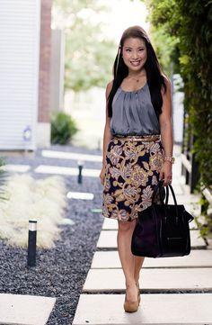 celine leather tote - navy polka dots, striped pencil skirt, celine mini luggage tote ...