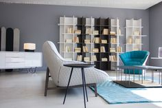 Cosse Sofa, Moel Armchair, Oka Bookshelves by #LigneRoset. LINEA Inc.  8841 Beverly Blvd. Los Angeles, CA 90048