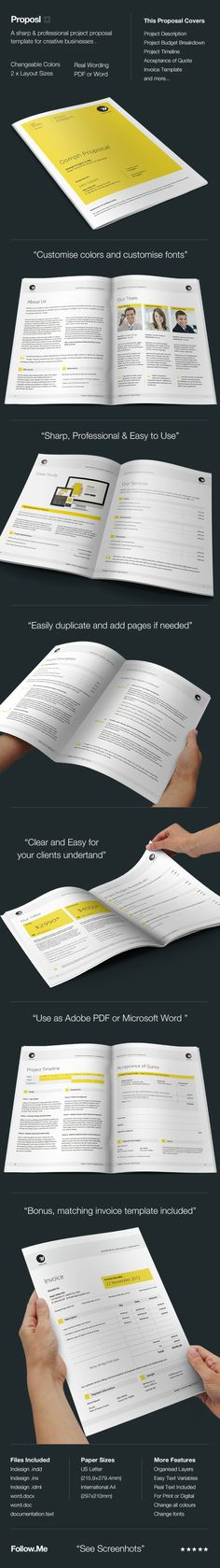Check out the new Proposal & Brief Template – Neue Proposal.Proposl FeaturesA Sharp and Professional Project Proposal template for creative businesses, created in Adobe InDesign and MS Word, it comes in two paper sizes including US Letter and Internat… Stationery Design, Brochure Design, Brochure Template, Book Design, Layout Design, Print Design, Graphic Design, 2d Design, Project Proposal Template