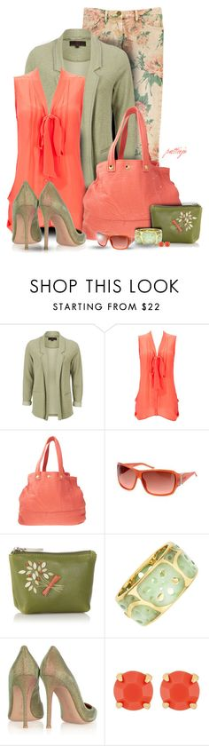 """""""Green Ocean and Coral"""" by rockreborn ❤ liked on Polyvore featuring Wallis, Jérôme Dreyfuss, Just Cavalli, Bailey & Quinn, Tiffany & Co., Gianvito Rossi and Henri Bendel"""