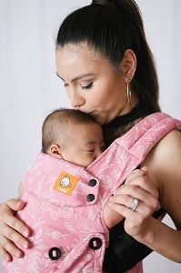 """Watch them grow and flourish! """"Bloom"""" has an elegant pattern of florals against a dusty rose pink background. The pattern continues across the inner shell of the carrier, straps, waist belt and the detachable hood. Baby Equipment, Nursery Accessories, Rosy Pink, Baby Planning, Natural Baby, Nursery Neutral, Baby Shower, Shower Cam, Baby Wearing"""