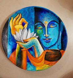 Buddha Drawing, Buddha Art, Buddha Decor, Budha Painting, Mural Painting, Small Canvas Paintings, Abstract Canvas Art, Tibet Art, African Art Paintings