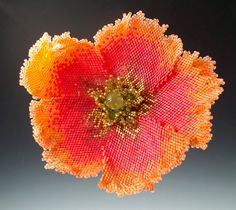 Flaming June Poppy Brooch